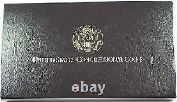 1989 Us Mint Du Congrès Commem 3 Coin Silver & Gold Proof Set Comme Délivré Dgh