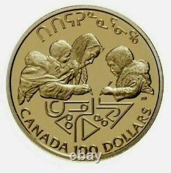 1990 Canada $100 Dollars Gold Coin Littératie Preuve