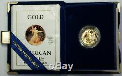 1990-p Preuve 1/4 Unze Gold Eagle Pièce De 10 $ En Ogp Avec Coa