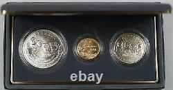1991 Us Mint Mount Rushmore Commem 3 Coin Silver & Gold Unc Set As Issued Dgh