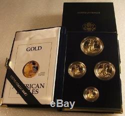 1991-w U. S. Mint 50-25-10-5 $ Preuve D'or American Eagle 4-pièces Set Ogp