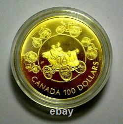 1993 Canada $100 Dollars Gold Coin The Horseless Transportage Proof 1/4 Oz