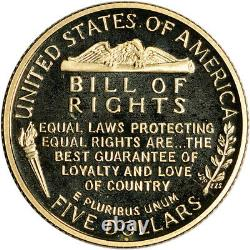 1993-w Us Gold $5 Bill Of Rights Commemorative Proof Coin In Capsule (en Capsule)