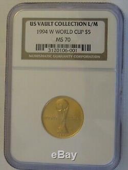 1994 W Or $ 5 Coupe Du Monde Commémorative Ngc Ms 70, Parfait Coin! A Propos De Trimestre Oz