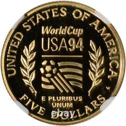 1994-w Us Gold $ 5 Coupe Du Monde Preuve Commémorative Ngc Pf69 Ucam