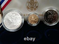 1995 5 $ Or, 1 $ Argent + Demi-dollar Seconde Guerre Mondiale 3 Jeu De Pièces Boîte Non Circulée