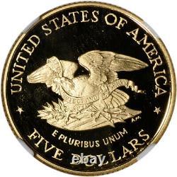1995-w Or Américain 5 $ Champ De Bataille Guerre Civile Preuve Commémorative Ngc Pf70 Ucam