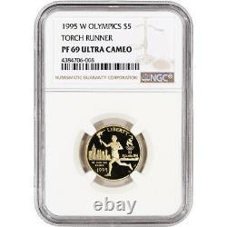 1995-w Us Gold 5 $ Olympic Torch Runner Preuve Commémorative Ngc Pf69