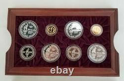 1996 Atlanta Us Olympics 16 Proof Gold & Silver Coin Set Boîte D'origine & Coa