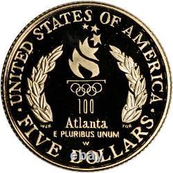 1996-w Us Gold $5 Olympic Cauldron Pièce De Preuve Commémorative En Capsule