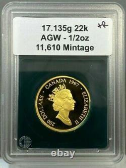 1997 1/2oz Canada 200 $ Raven Haida Masque Preuve Pièce D'or