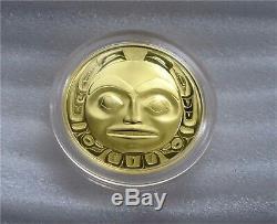1997 Canada $ 200 Dollars Pièce D'or Haida Masque Le Corbeau 22k -1/2 Oz Proof