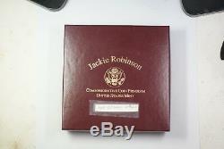 1997 Jackie Robinson États-unis D'or Commémorative Et Argent Épreuve Numismatique Set 4 Pièces Total Jah