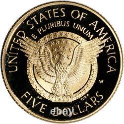 1997-w Us Gold 5 $ Franklin Delano Roosevelt Pièce De Preuve Commémorative En Capsule