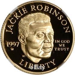 1997-w Us Gold $ 5 Jackie Robinson Preuve Commémorative Ngc Pf70 Ucam