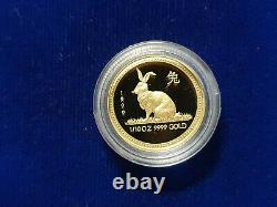 1999 Année Du Lapin 1/10 Oz $15 Proof Gold Lunar Perth Mint Australia Coin