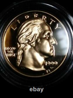 1999 W 2 Or $5 Pièce George Washington Set Proof & Uncirculated In Box