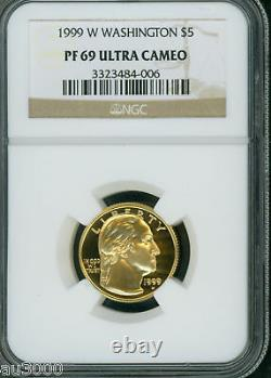 1999-w 5 $ Gold George Washington Preuve Commémorative Ngc Pr69 Pf69 Pr-69 Pf-69