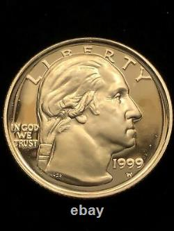 1999-w G. Washington 1/4 Once Gold Proof 5 $ Pièce Commémorative Américaine Bicentenaire