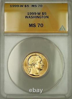 1999-w George Washington Commemorative $5 Gold Coin Anacs Ms-70 Perfect Gem