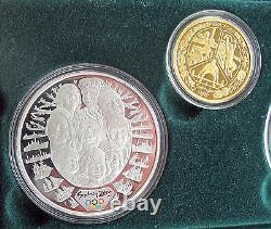 2000 Australie Pièce Olympique Fixé $5 $100 Dollars 9999 Or Argent 1/3 Oz Sydney