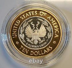 2000 Bibliothèque Du Congrès 10 $ Bimétallique Gold & Platinum Proof Coin Avec Coa Ogp