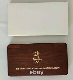 2000 Gold Sydney Olympics 8 Pièces De Monnaie Proof Ensemble Complet Avec Jarrah Wood Box & Coa