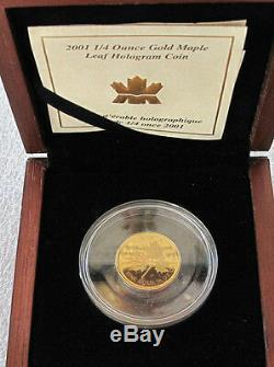 2001 Canada $ 10 Dollars 9999 Gold Coin, Hologram Feuille D'érable 1/4 Oz Rare