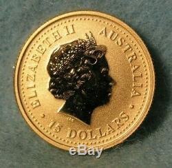 2001 Perth Mint Australie 15 $ 1/10 Oz Or Lunaire Année Du Serpent Bu Coin # 4241