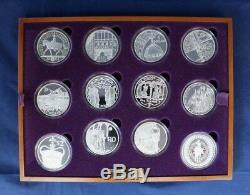 2003 24 Pièces En Argent Épreuve Numismatique Set Jubilé D'or Dans L'affaire Avec Coas (g4 / 34)