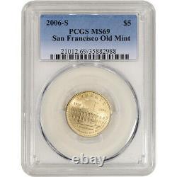 2006-s Us Gold 5 $ San Francisco Old Mint Commemorative Bu Pcgs Ms69