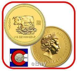 2007 Lunar Pig 1/10 Oz 15 $ Pièce D'or, Série I, Perth Mint En Australie
