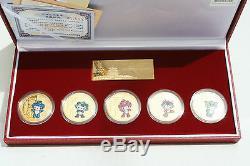 2008 Pékin Jeux Olympiques D'été De Mascotte D'or Des Pièces Set Commémoratif Médaillon