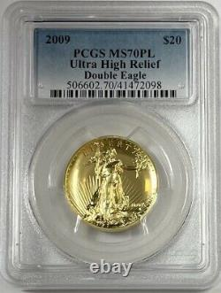 2009 $20 Ultra High Relief Pcgs Ms70pl 1oz Proof Like Gold Double Eagle Coin
