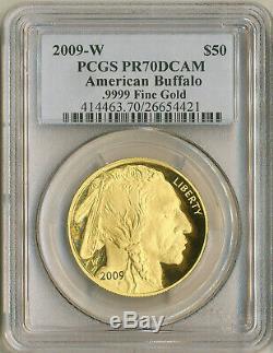 2009-w 50 $ Gold Dollar Américain Buffalo 1 Oz Preuve Pcgs Pr70dcam