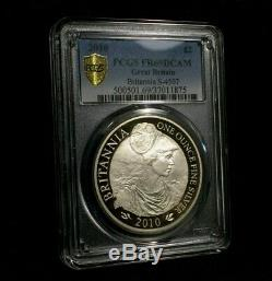 2010 Britannia Pcgs Pr69 Dcam Grande-bretagne 1 Oz D'argent Pièce D'or Bouclier Uk £ 2