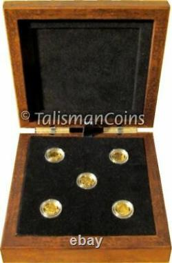 2013 O Canada Complete 5 Coin $5 1/10 Oz Gold Proof Set Wolf Orca In Wood Case