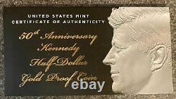 2014 Kennedy 50e Anniversaire Gold Half Dollar Proof Coin. 75 Oz D'or
