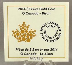 2014 O Canada $5 Dollars 9999 Pièce D'or Bison Preuve