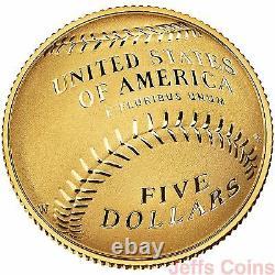 2014 W National Baseball Hall Of Fame Gold Proof 5 Dollars Us Mint Box Coa B31