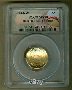 2014-w U. S. Baseball Hall Of Fame $ 5 Unc Or Pièce Commémorative Pcgs Ms70