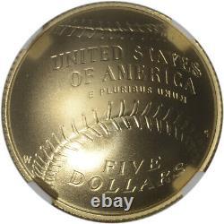 2014-w Us Gold 5 $ National Baseball Hall Of Fame Commemorative Bu Ngc Ms70