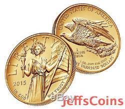 2015 W Liberté Américaine Relief Pièce D'or 1 Once 9999 24 Karat $ 100 Uh8