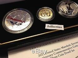 2015 W P S Us Marshals Service Gold 5 $ En Argent Épreuve Numismatique Dollar 3 Coin Set Sr7 $ 1