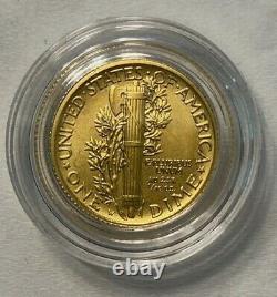 2016 Mercury Dime Gold Centennial Coin, Boîte D'affichage Parfaite En Menthe