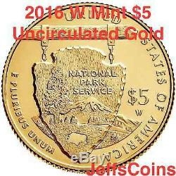 2016 W 100e Anniversaire Du National Park Service 5 $ Gold Ongecirculeerd 16cb