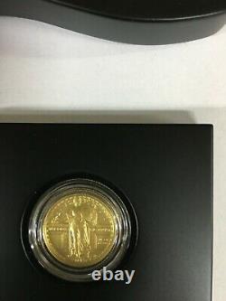 2016 W 1/4 Oz D'or. 9999 Quartier Permanent Liberty Centennial Coin Box & Coa 16xc