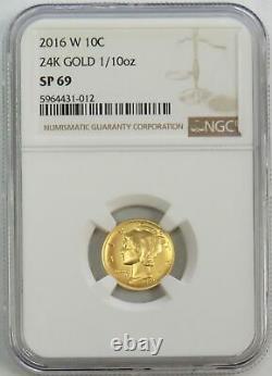 2016 W Gold Mercury Dime 1/10 Oz Gold Centennial Coin Ngc Sp 69