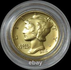 2016 W Gold Mercury Dime 1/10 Oz Pièce Du Centenaire D'or En Capsule Seulement