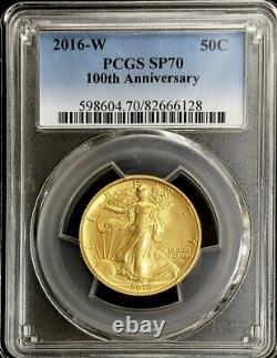 2016 W Gold Walking Liberty 50c Centennial Anniversary 1/2 Oz Coin Pcgs Sp 70